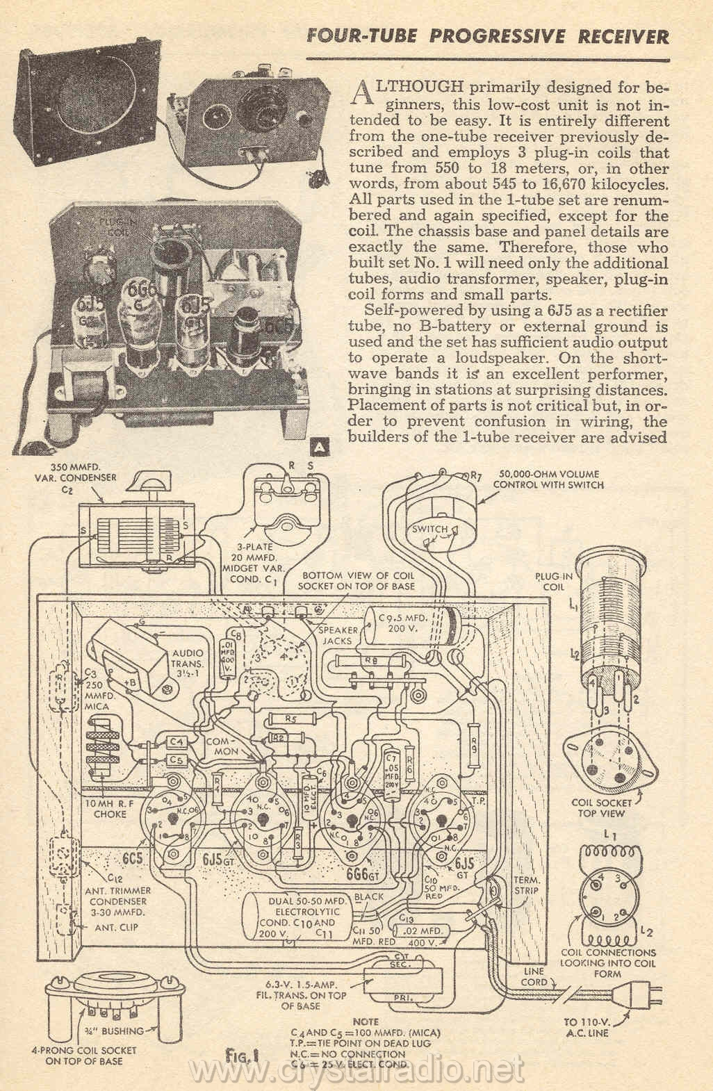 Sw Receiver Tuned Radio Frequency Trf Circuit Diagram 28 Four Tube Progressive